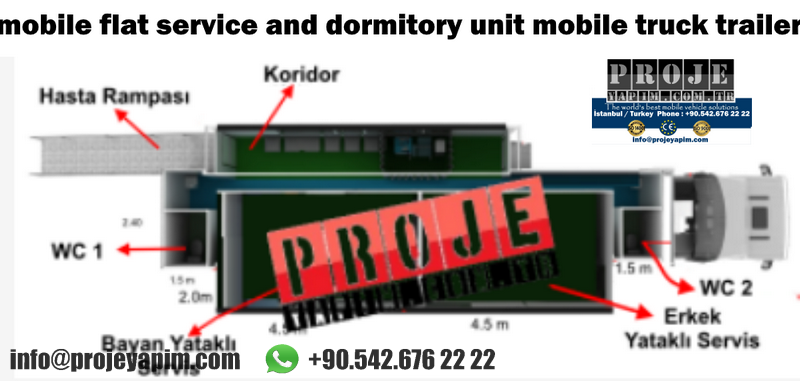 mobile flat service and dormitory unit mobile truck trailer